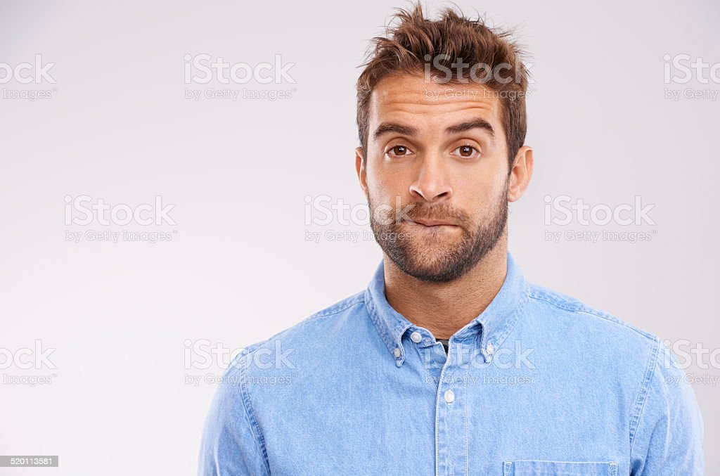 Having a moment of uncertainty stock photo