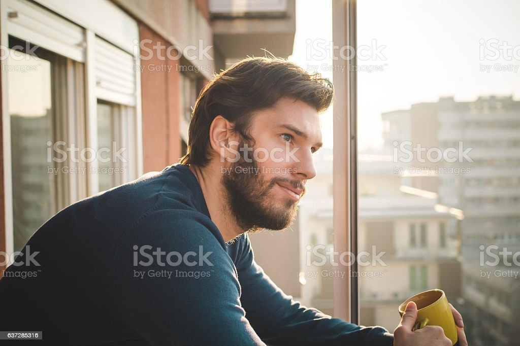 Having a nice start of the day stock photo
