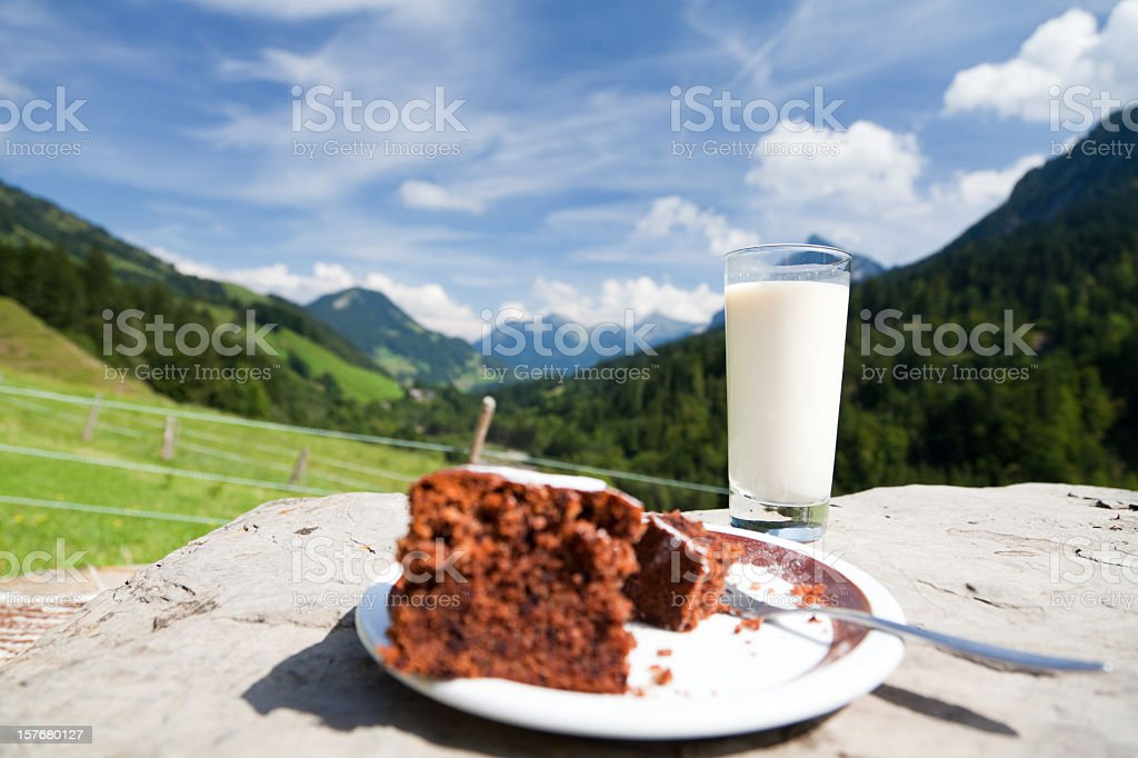 having a snack at the mountain's top royalty-free stock photo