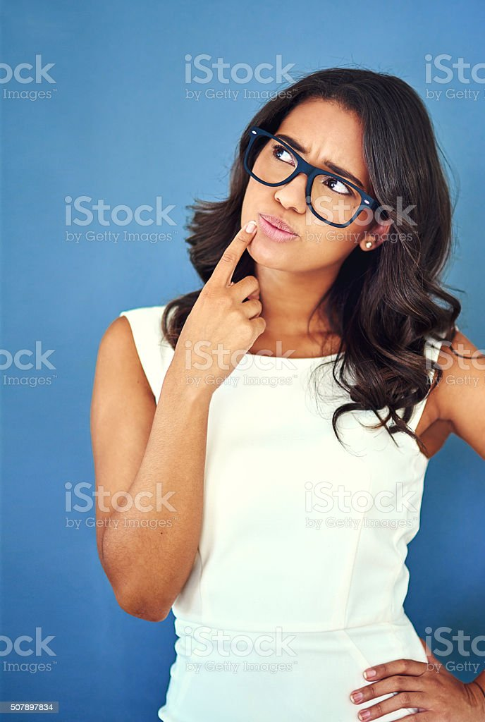 Having a solo brainstorm stock photo