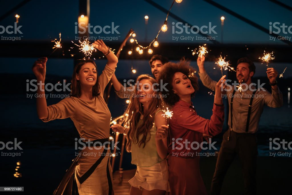 Having best times of their lives stock photo
