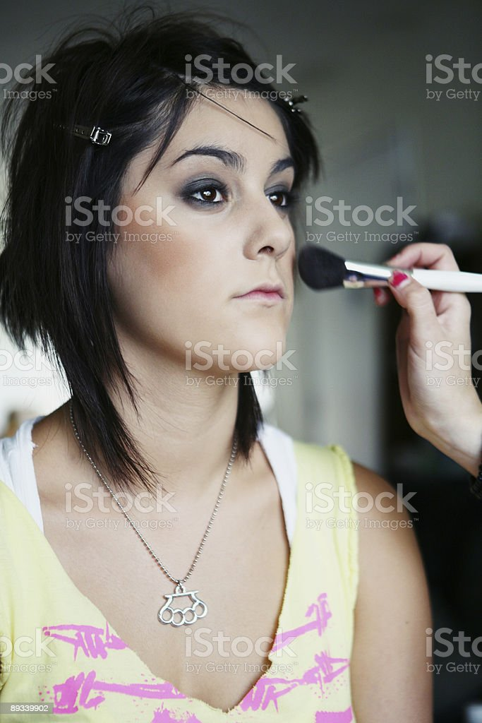 Having Blush Applied for Photoshoot royalty-free stock photo