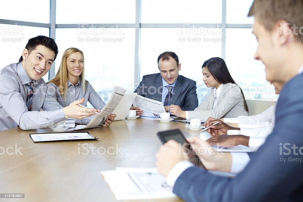 Having board meeting royalty-free stock photo