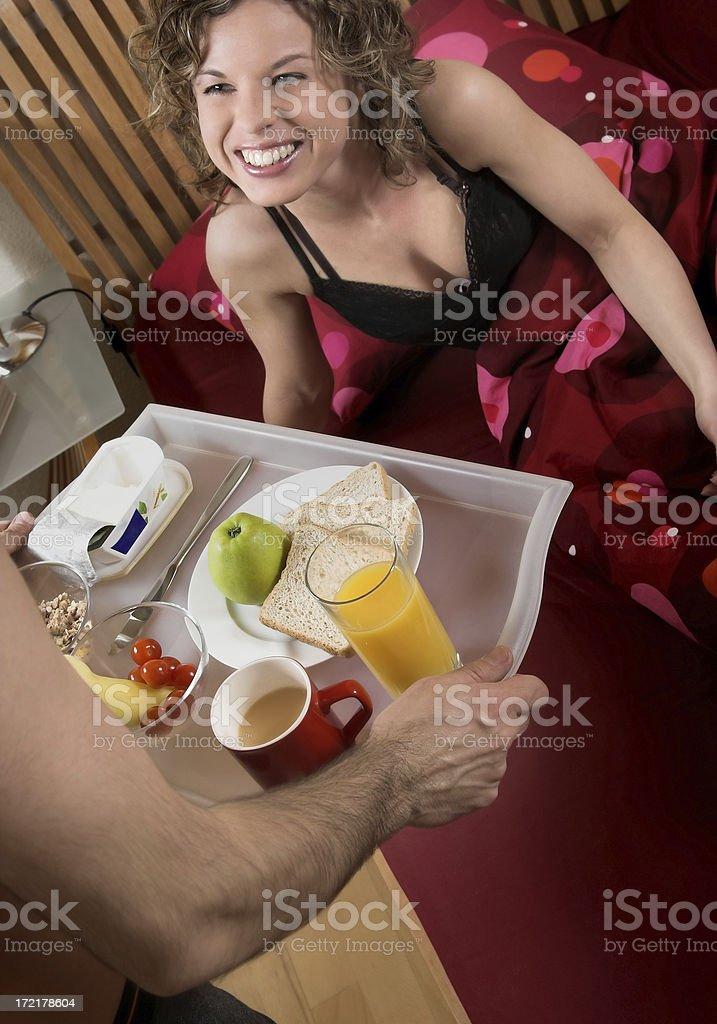 Having breakfast in the bed stock photo