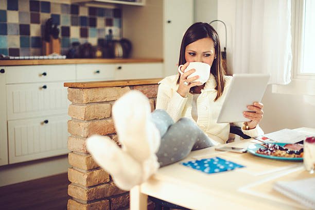 having breakfast - eating technology stock photos and pictures
