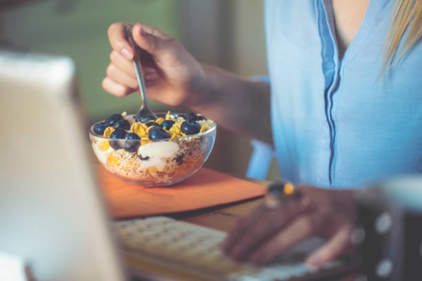 having breakfast - oats food stock photos and pictures