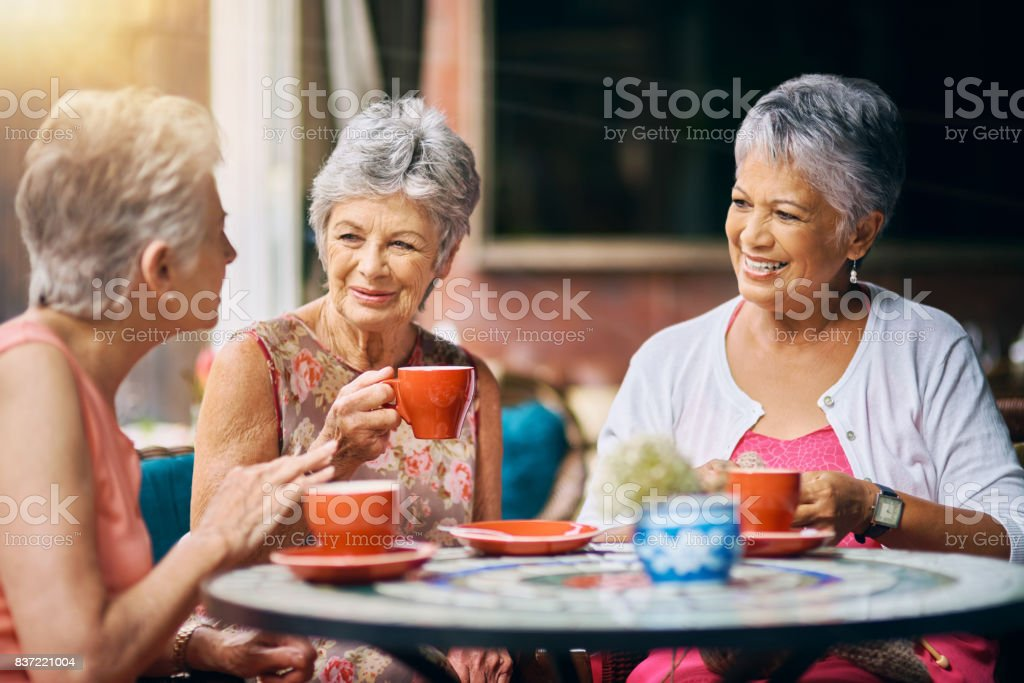 Having coffee with the girls stock photo