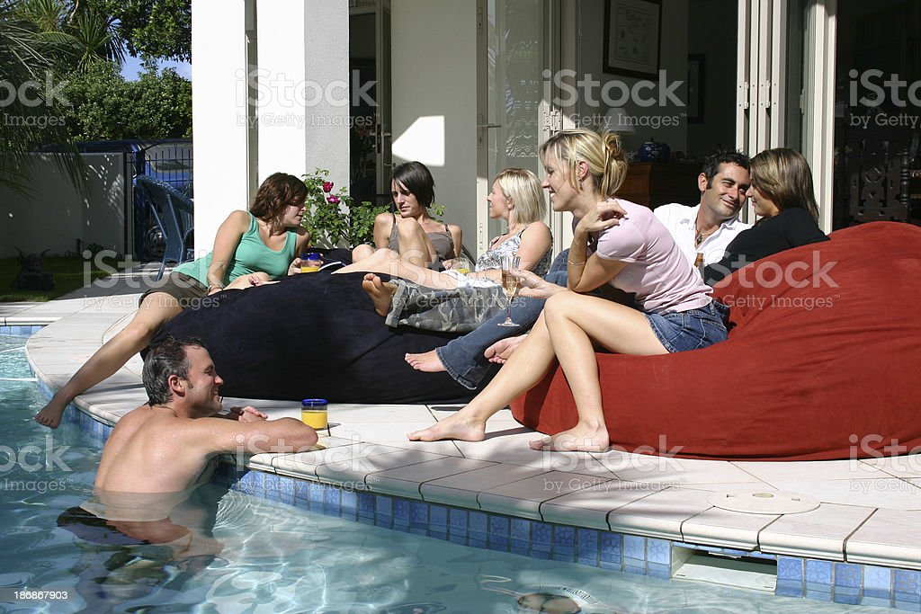 having fun at home by the pool royalty-free stock photo