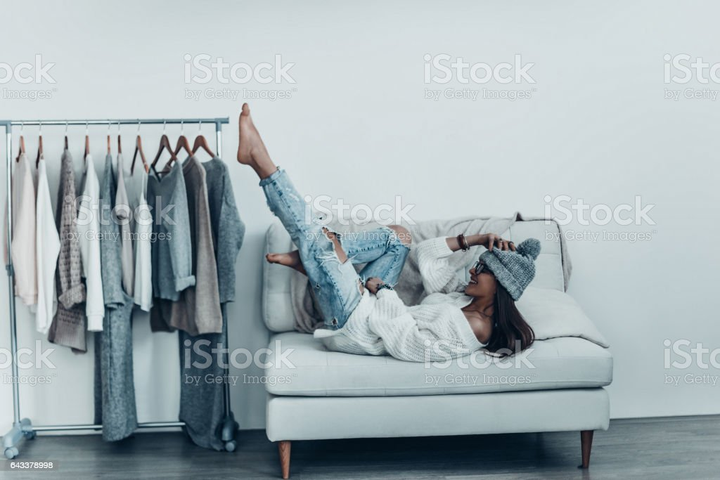Having fun at home. stock photo