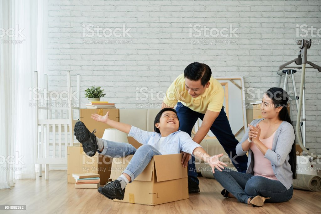 Having Fun at New Spacious Apartment stock photo