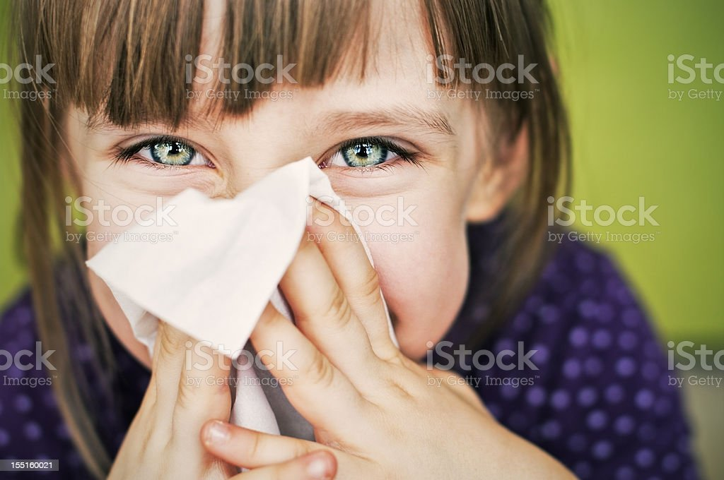 Having fun cleaning nose stock photo