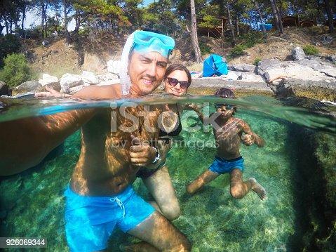 596350174istockphoto Having Fun family Doing A Selfie Underwater 926069344