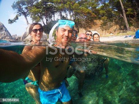 596350174istockphoto Having Fun family Doing A Selfie Underwater 942354934