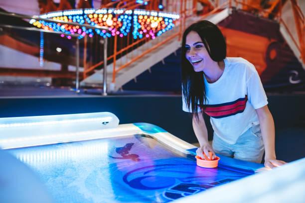 Having fun in amusement park stock photo