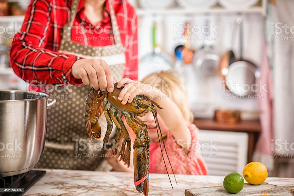 Having Fun in Preparing Healthy Lobster stock photo