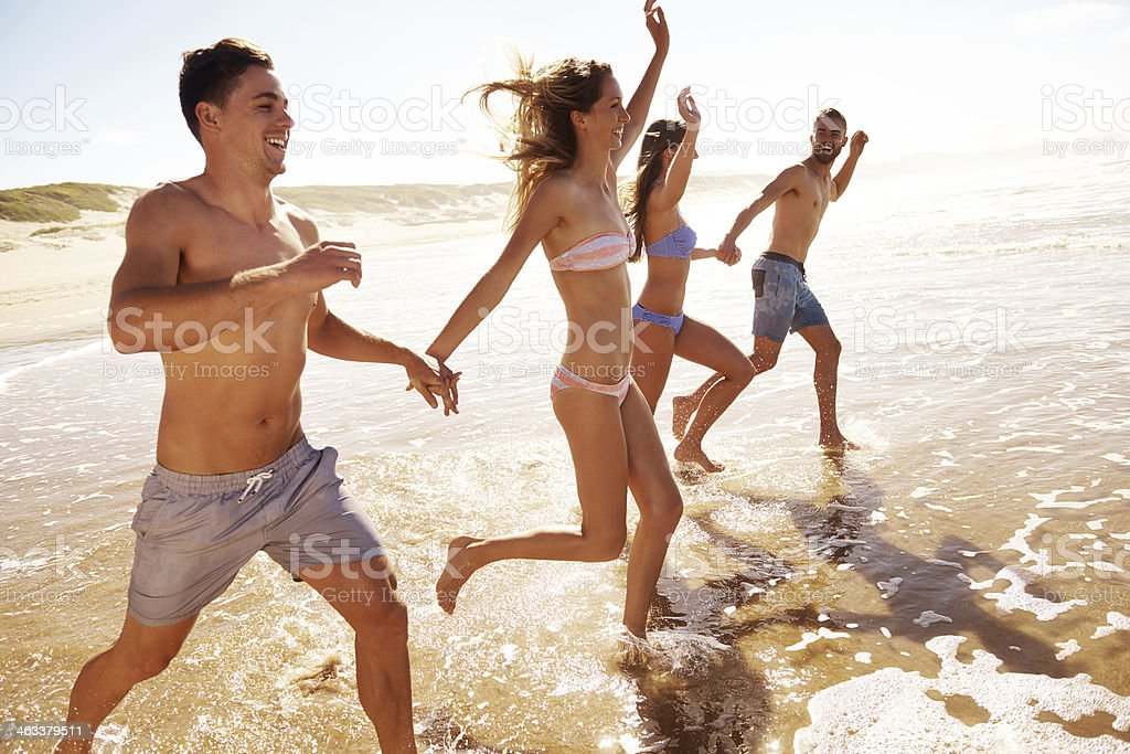 Having fun in the waves! stock photo