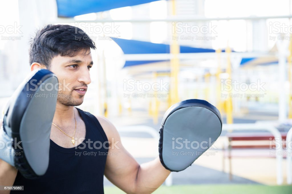 Having fun in training and in boxing because it's my passion stock photo