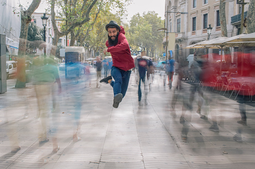 Having fun, jumping in the city