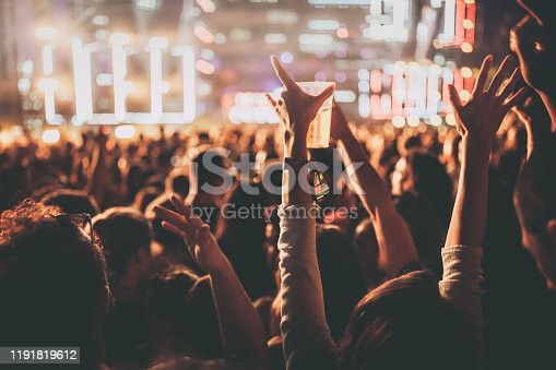 Crowd of people having fun during music festival by night.