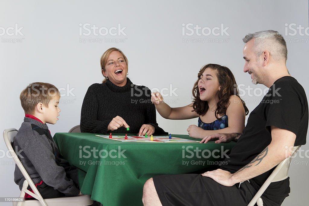 Having Fun On Family Game Night stock photo