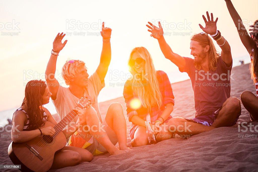Having fun on the beach stock photo