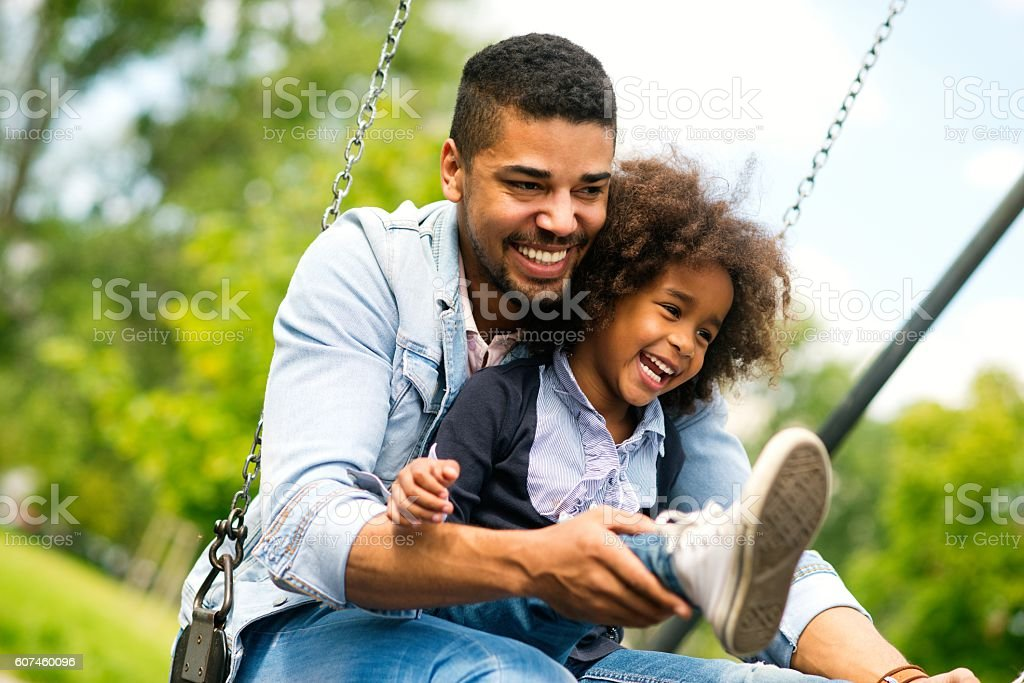 Having fun with daughter. stock photo