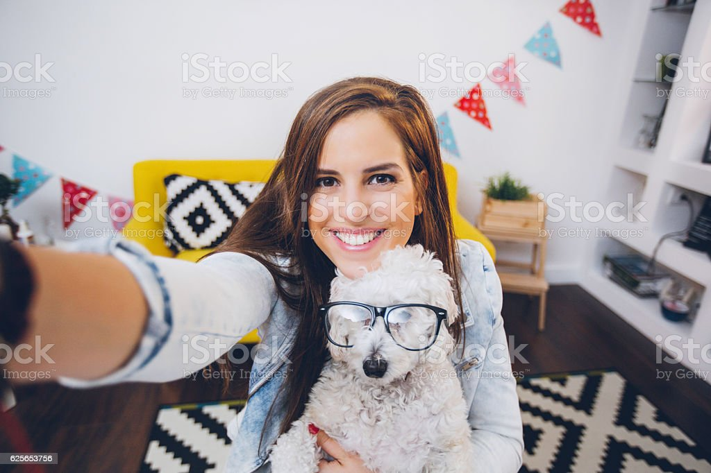 Having fun with my dog! stock photo
