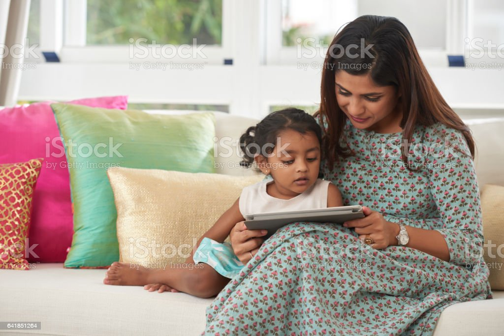 Having good time with mom stock photo