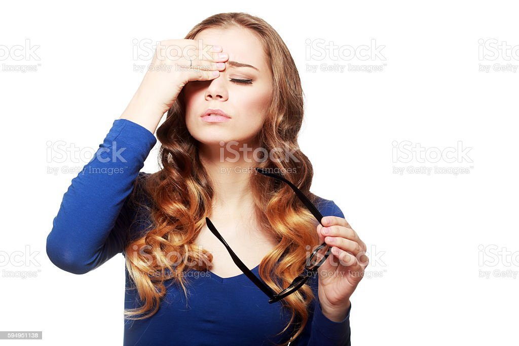 having headache pains stock photo