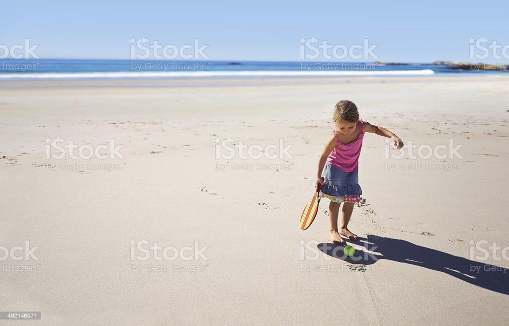 Having loads of fun on the beach! stock photo