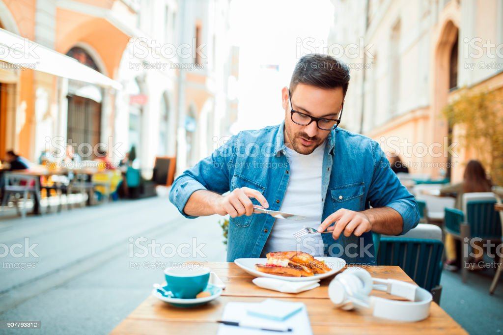 Having lunch stock photo