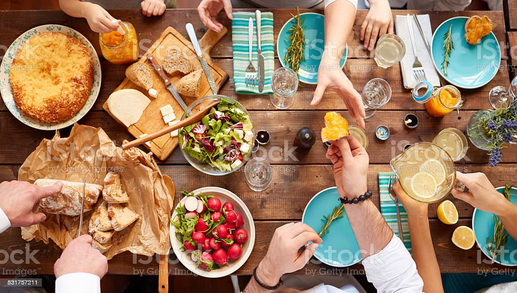 Having meal together stock photo