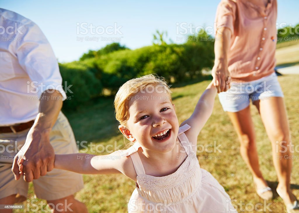 Having so much fun with mom and dad! royalty-free stock photo