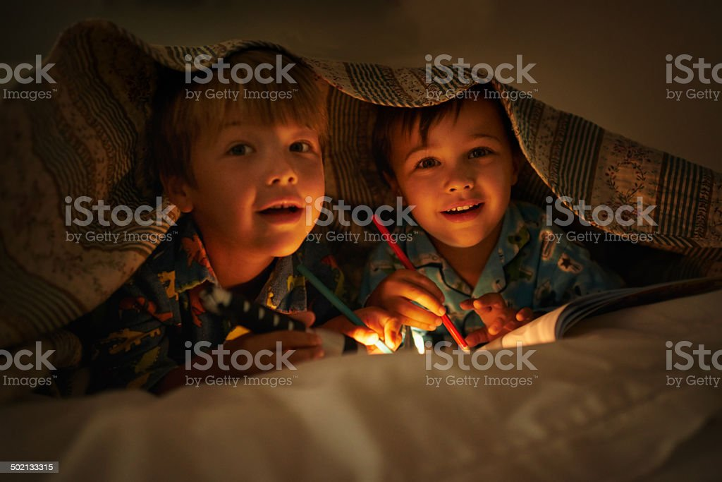 Having some fun after bedtime stock photo