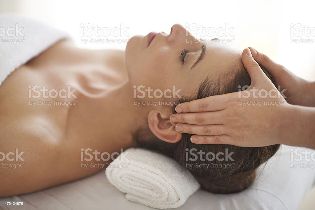 Having such a peaceful day at the spa... stock photo