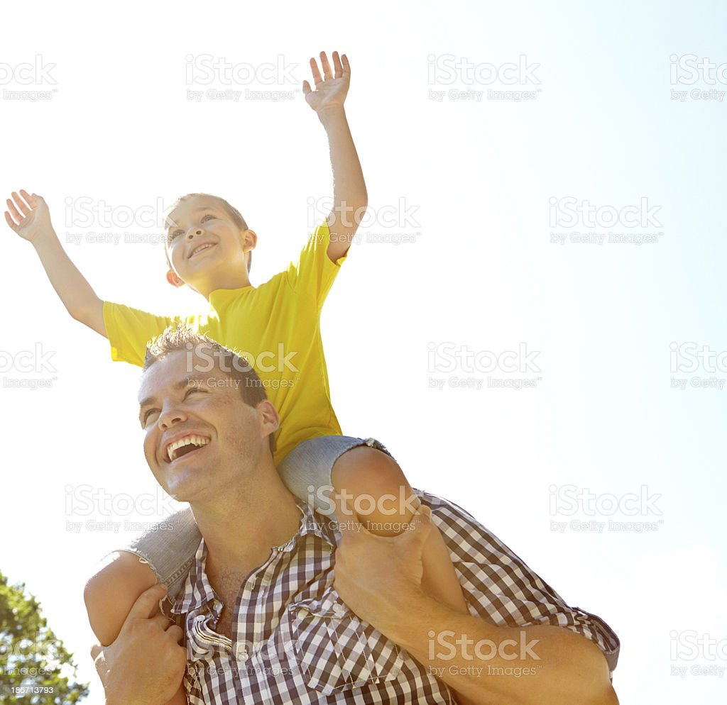 Having the best time outdoors with dad stock photo