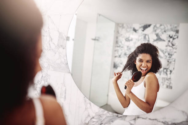 Having the most fun while doing my morning routines stock photo