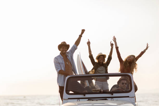 Having the time of their lives! stock photo