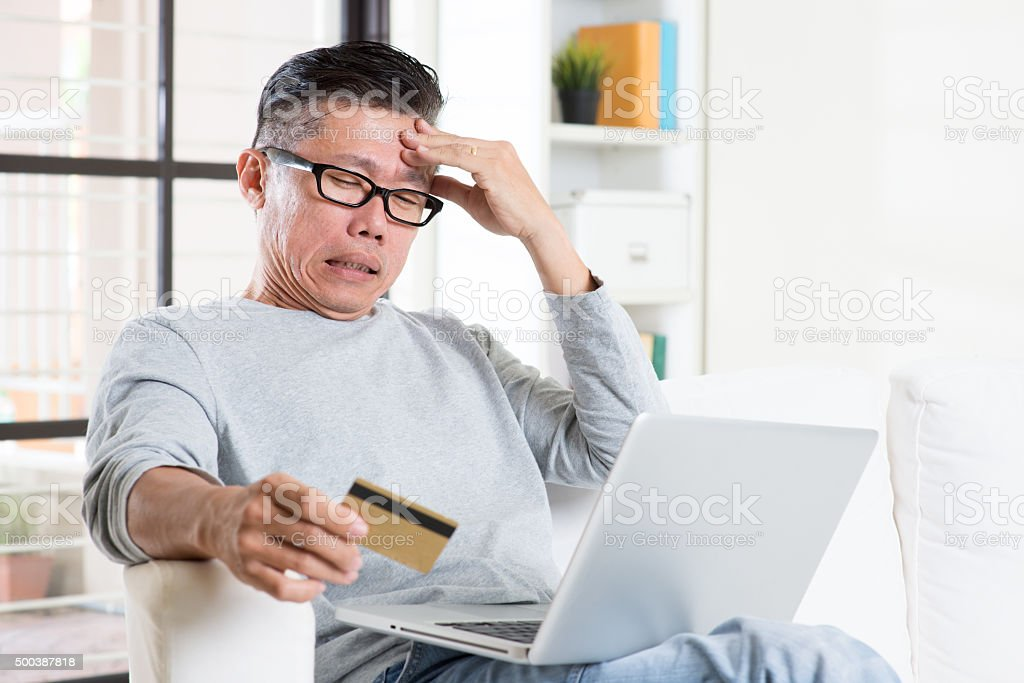 Having trouble while online payment stock photo