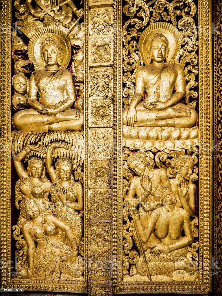 Haw pha bang temple door carvings luang prabang laos stock photo