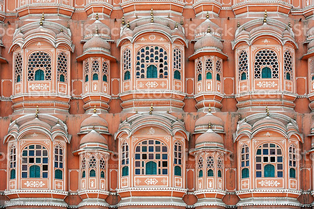 Hawa Mahal close-up, Jaipur, Rajasthan, India stock photo