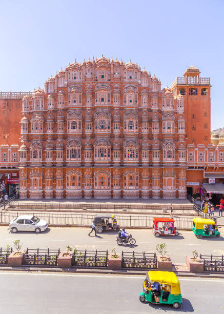 Hawa Mahal in Jaipur during the day. stock photo