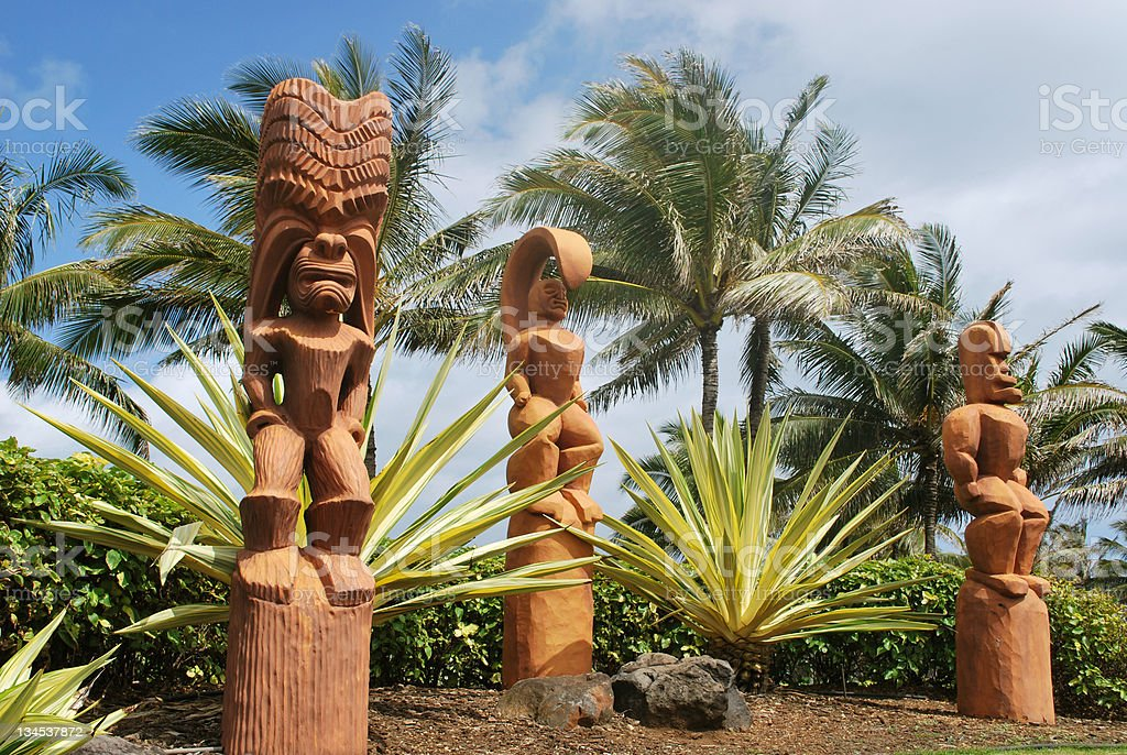 Hawaian Wooden idols stock photo