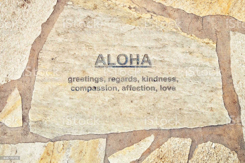 Hawaii Aloha Written On Tile In Waikikihonolulu Stock Photo
