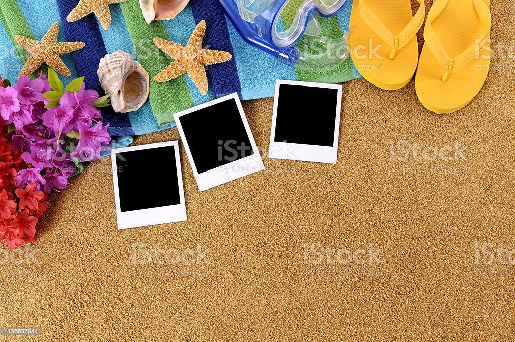 Hawaii beach scene with blank photos royalty-free stock photo