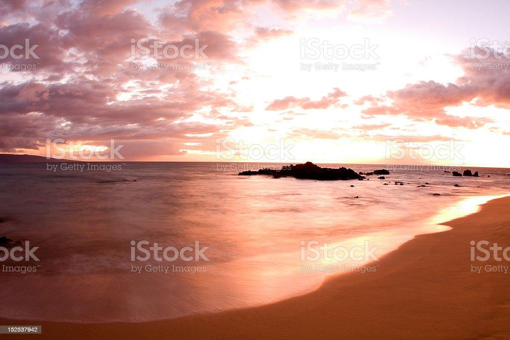 Hawaii Beach Sunset stock photo