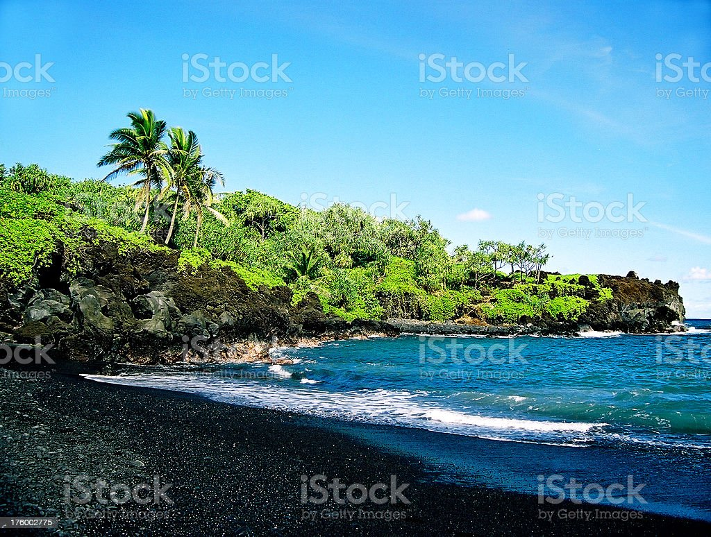 Hawaii Black sand beach and coastline on Maui stock photo