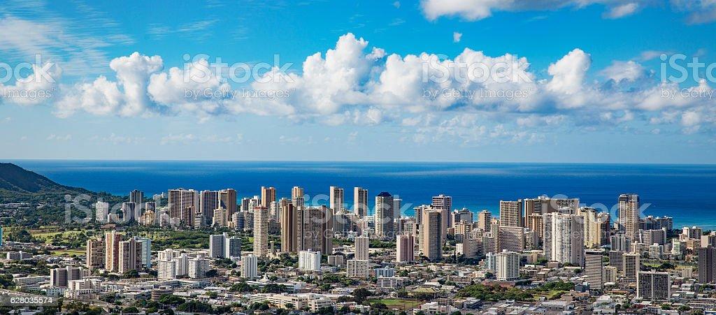 Hawaii city skyline aerial view stock photo