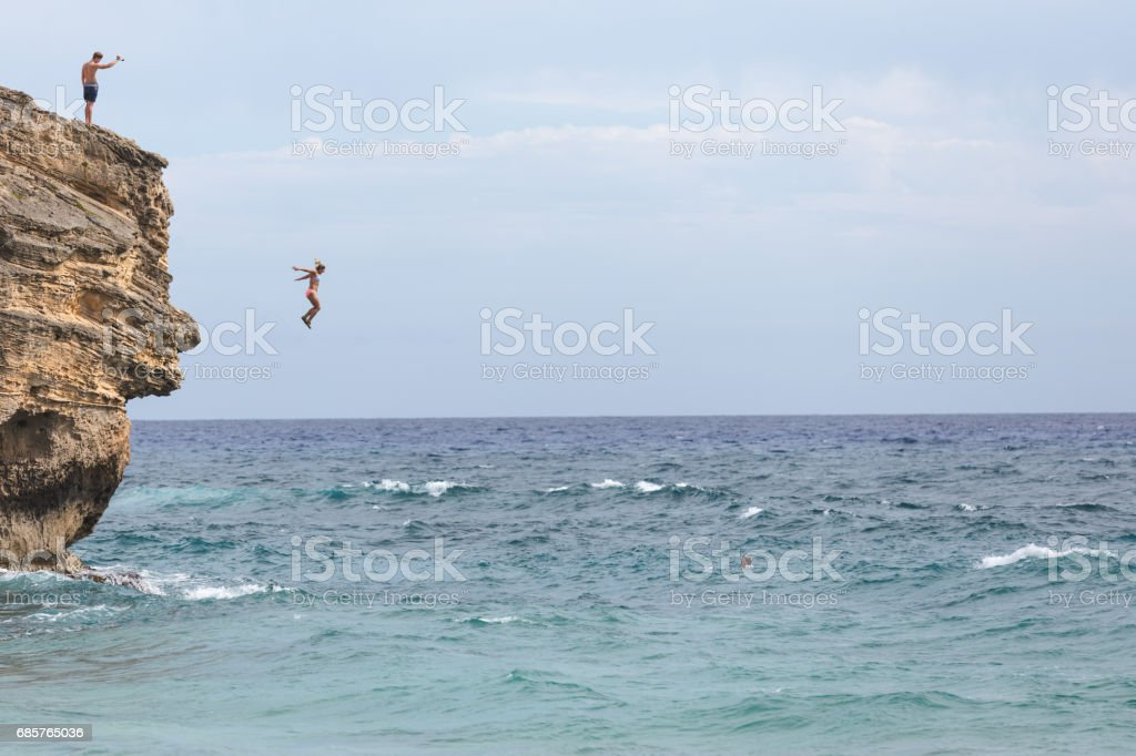 Hawaii Cliff springen royalty free stockfoto