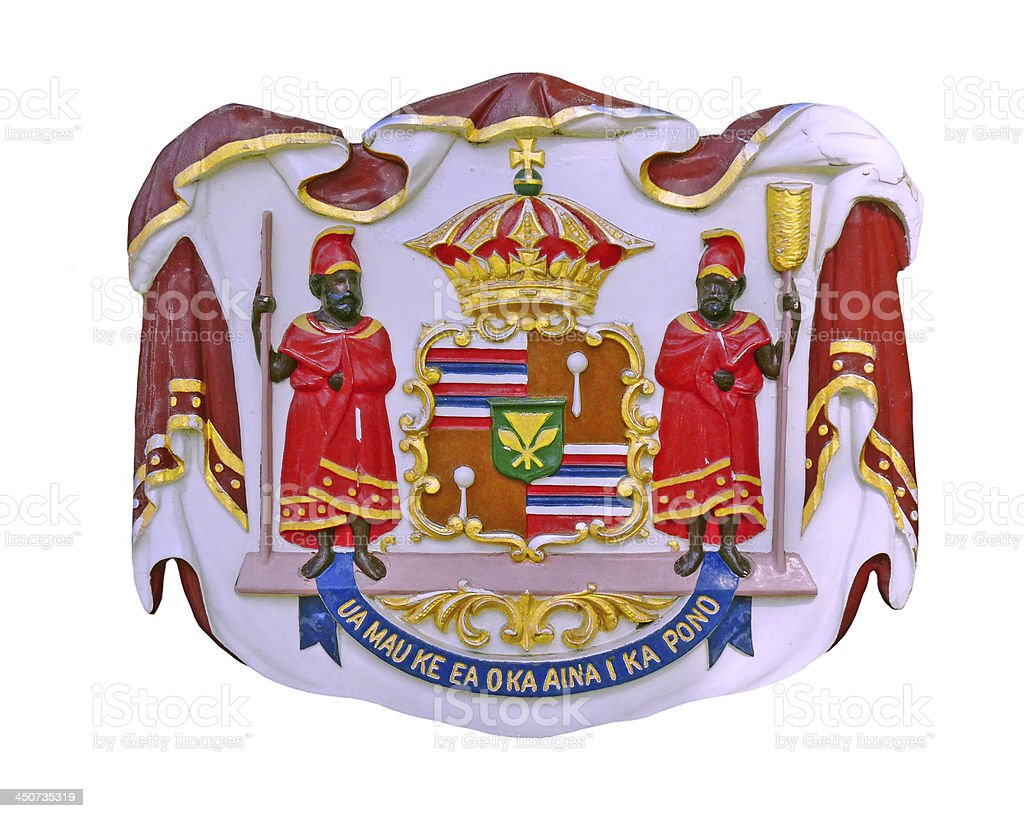 Hawaii Coat of Arms - Iolani Palace stock photo